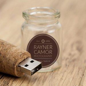 Glass Bottle w/ Cork USB