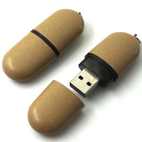 Oval Wheat Straw Recycled USB Key